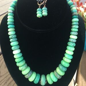 Chunky Chysoprase Necklace and Earring Set.